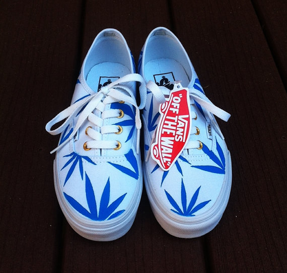 There is 1 tip to buy these shoes: huf weed vans printed vans blue white  patterened marijuana marijuana weed.