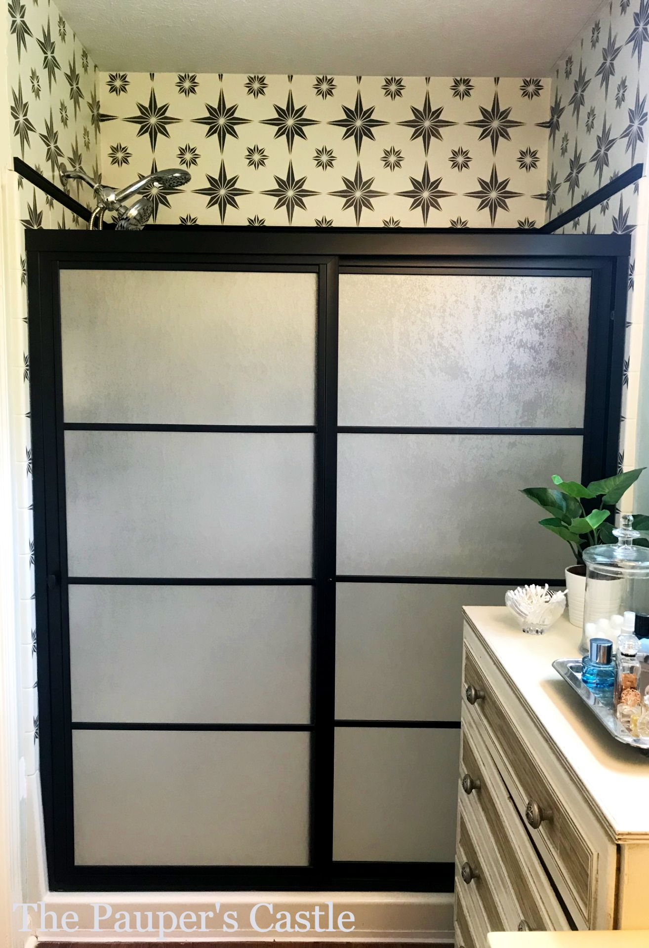 Don T Replace Restyle Your Old Shower Doors With Paint And Trim The Pauper S Castle In 2020 Shower Doors Replace Shower Door Mobile Home Renovations