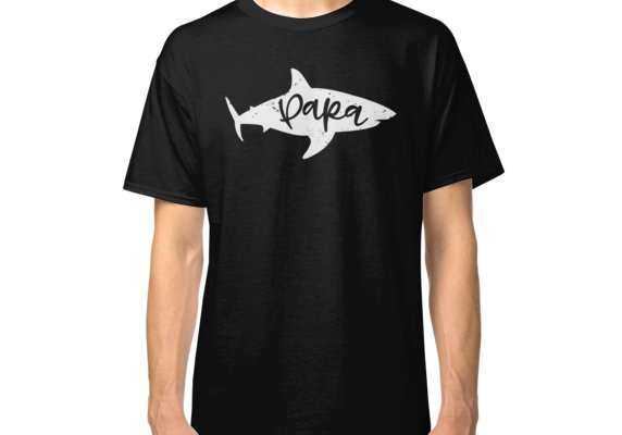 0b6feff82a4 Papa Shark Fin Dad Father Distressed | Classic T-Shirt in 2019 ...