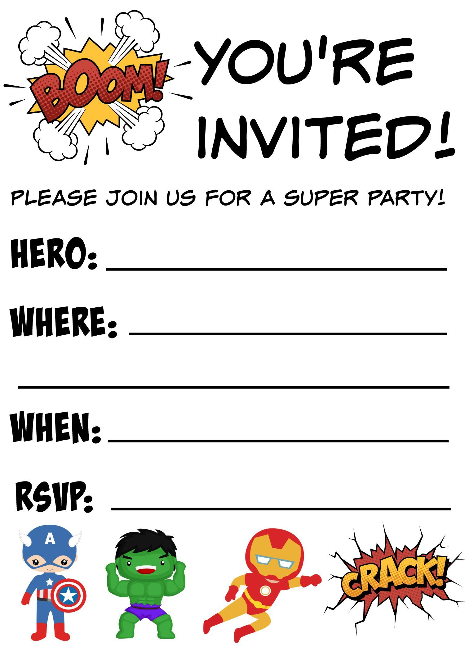 Free Printable Superhero Birthday Invitations | Disney marvel ...