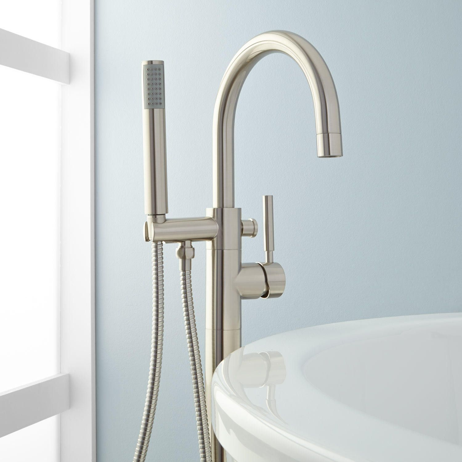 Simoni Freestanding Tub Faucet And Hand Shower In Chrome
