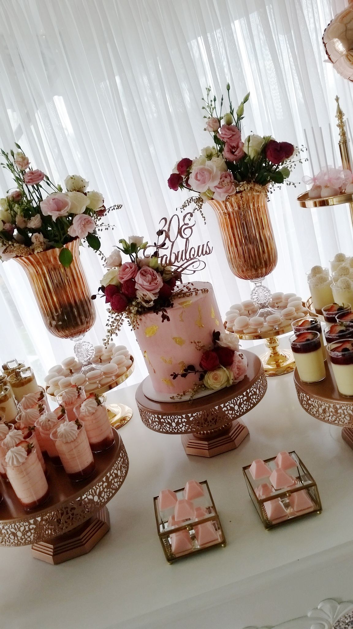 Fabulous pink and gold 30th birthday party dessert table by creme co rose gold cake stands by - Rosegold dekoration ...
