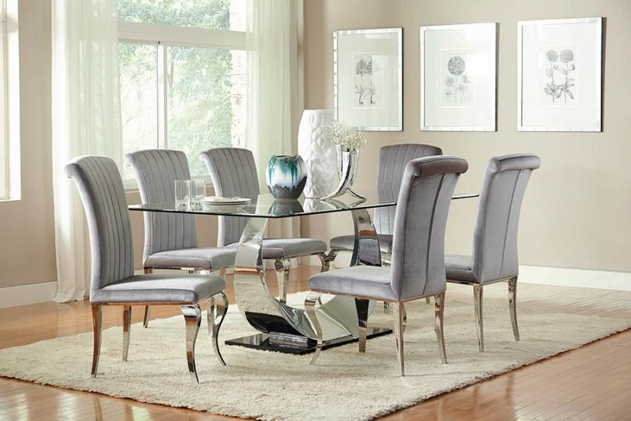 107051 7 Pc Manessier Chrome Metal Base Dining Table Set Clear