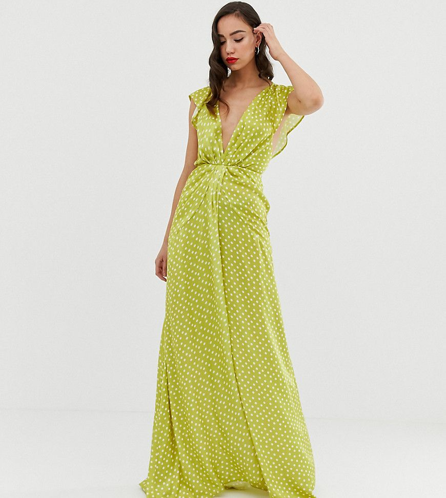 Asos design tall ruffle sleeve knot front maxi dress in