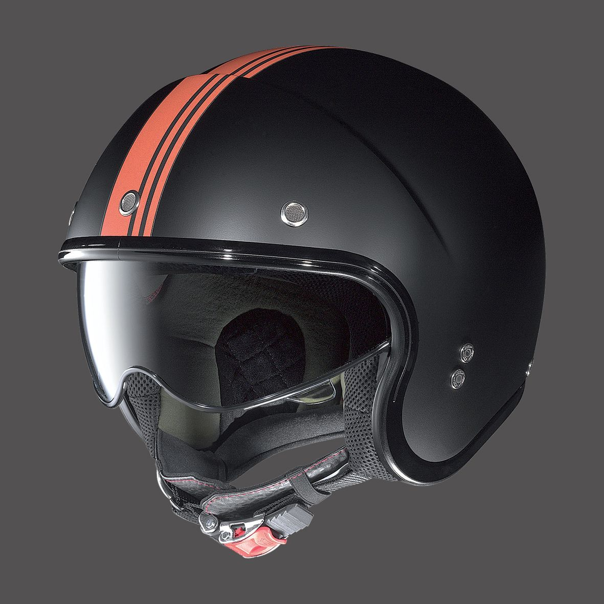 casco moto jet vintage nero nolan n21 flat black stripes. Black Bedroom Furniture Sets. Home Design Ideas