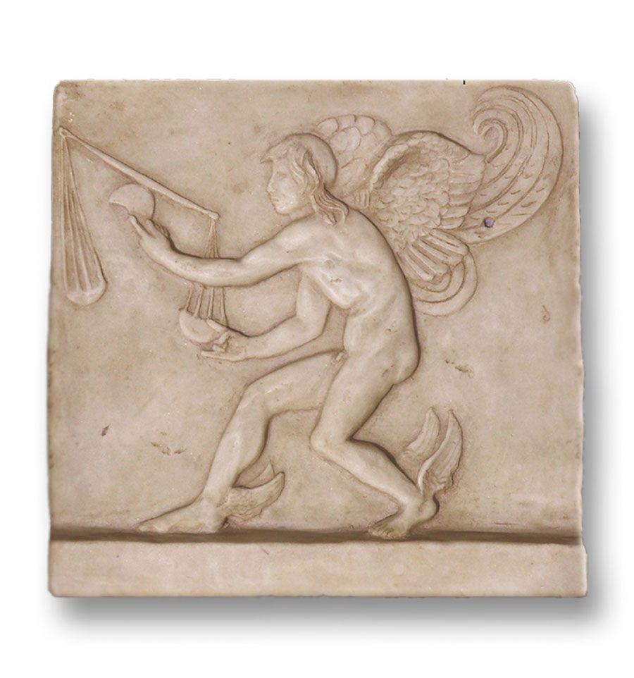 Relieve del dios Kairós. Deidad del momento oportuno para que las cosas sucedan. Réplica arqueológica de relieve romano. Idóneo para regalos exclusivos.