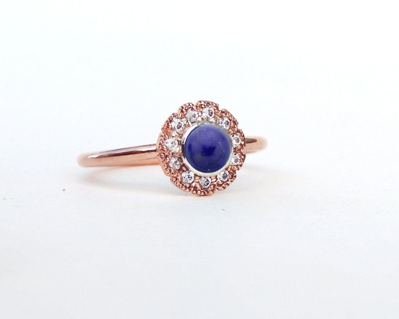 Diamond engagement rings alternatives - Lapis Lazuli Engagement Ring Alternative Engagement Ring Engagement Ring Lapis Lazuli Diamond Ring Lapis Diamond Halo Ring Handmade