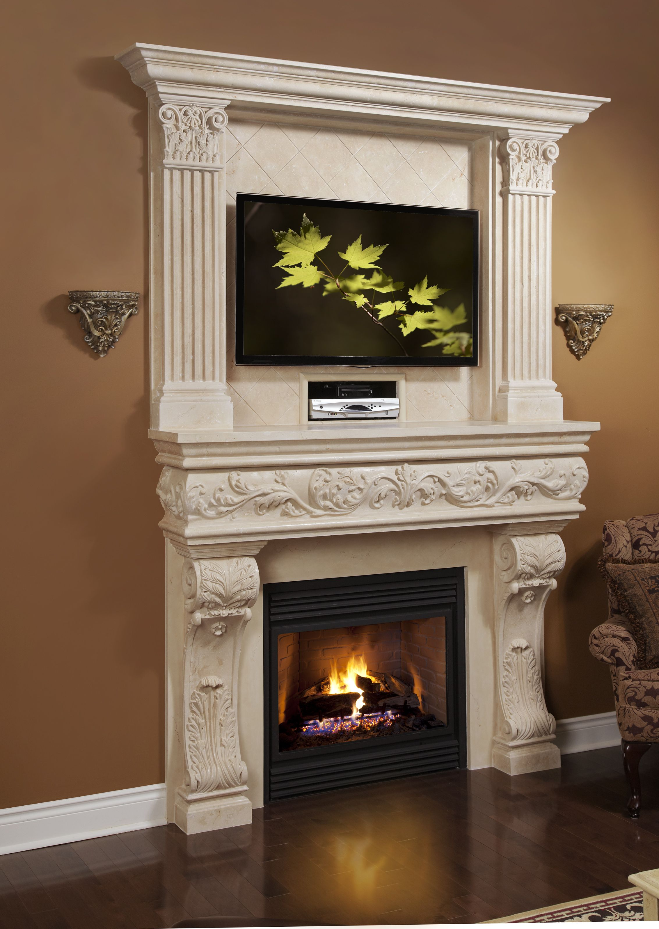 Genial Custom Stone Mantel And Overmantel With TV And Media