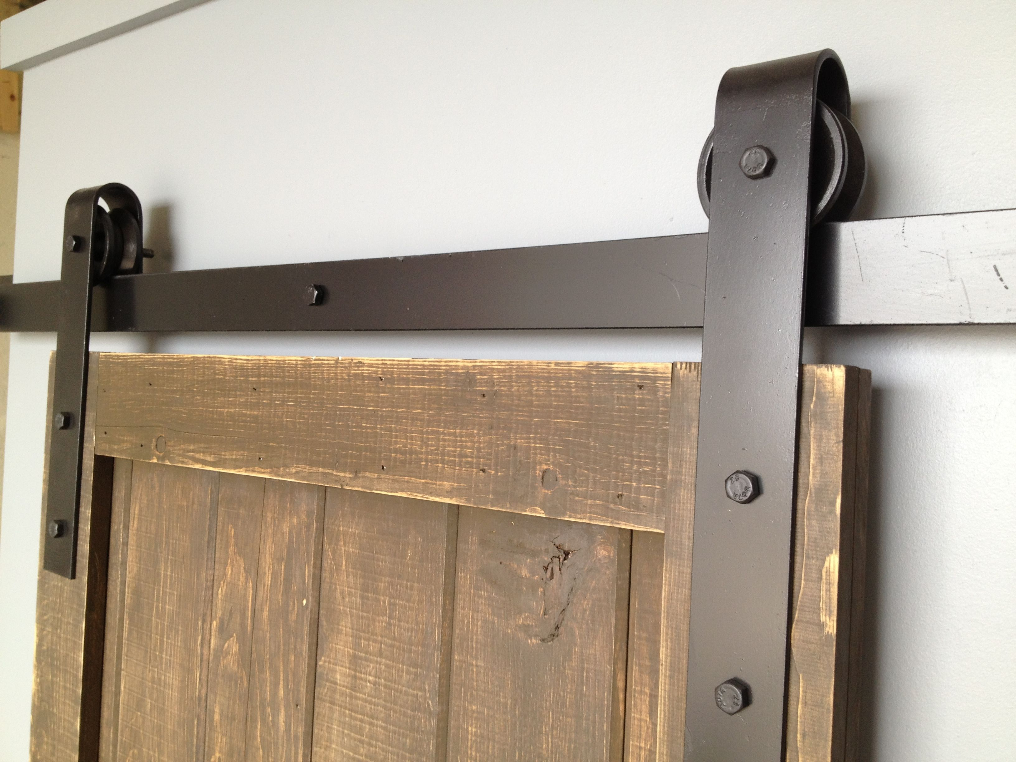 Wall mount sliding door hardware set - Rustic Sliding Barn Door Hardware With Wooden Door Piece And Old Fashioned Metal Slide