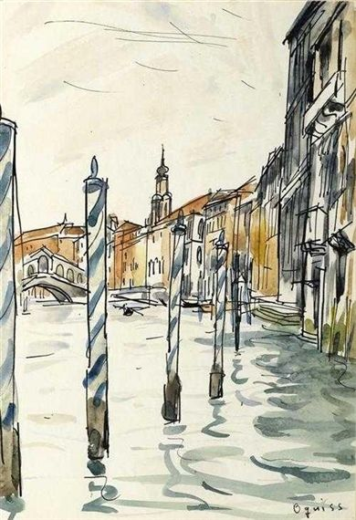 View of Venice by Takanori Oguiss, India ink and watercolor | MutualArt.com