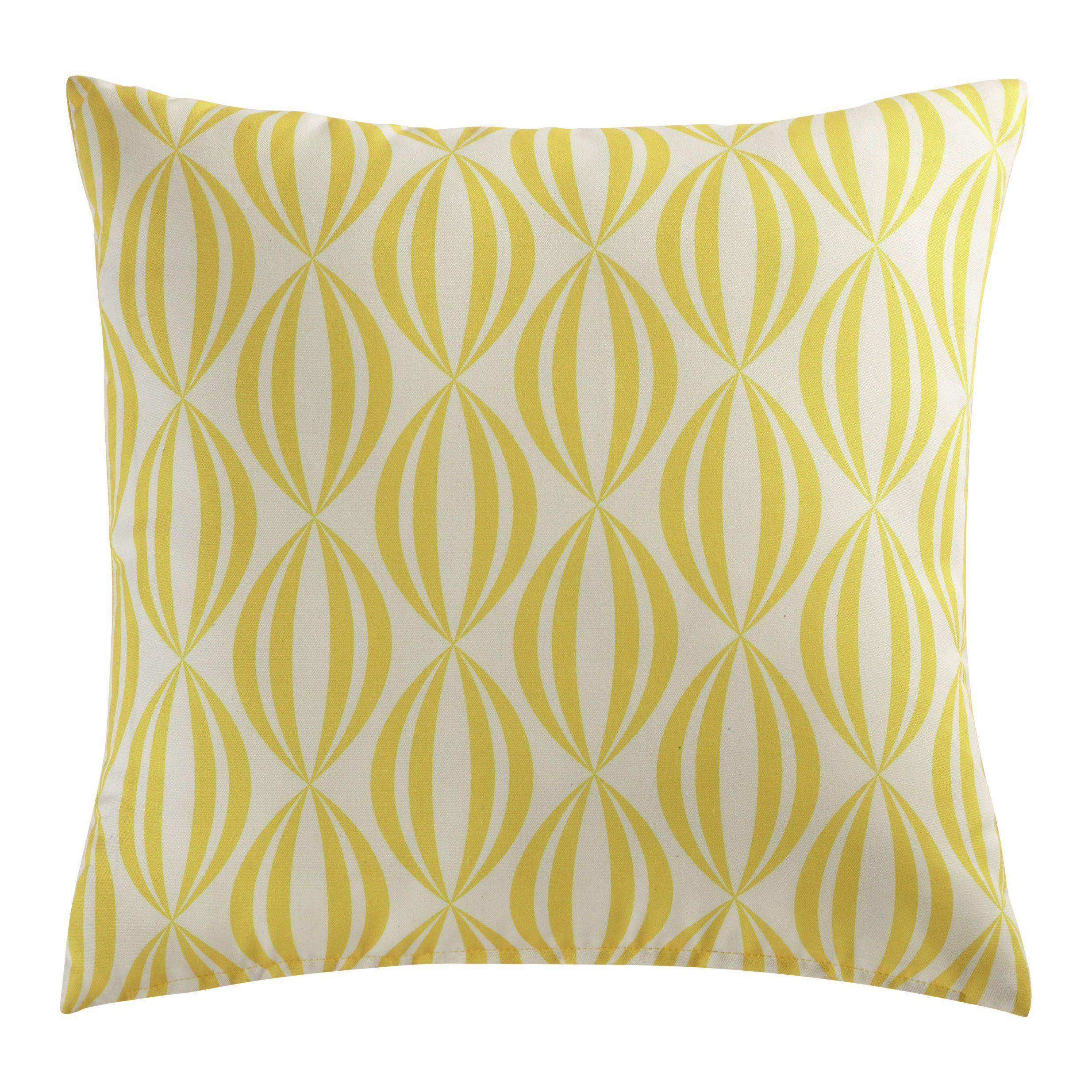 Coussin d\'extérieur jaune/blanc 45x45   wish list   Tissu jaune ...