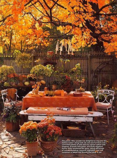 Outdoor Thanksgiving Decorations | Outdoor Autumn theme table / Thanksgiving  Ideas - Juxtapost - Outdoor Thanksgiving Decorations Outdoor Autumn Theme Table