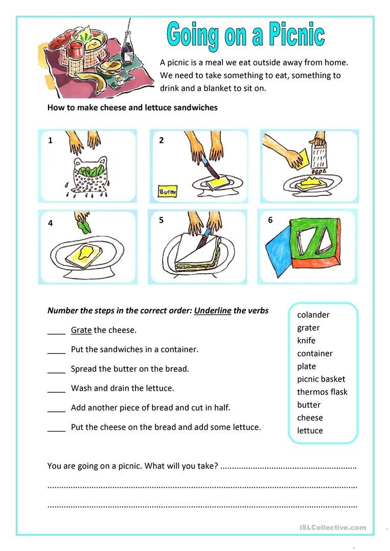 Worksheets Aphasia Worksheets going on a picnic worksheet free esl printable worksheets made by teachers