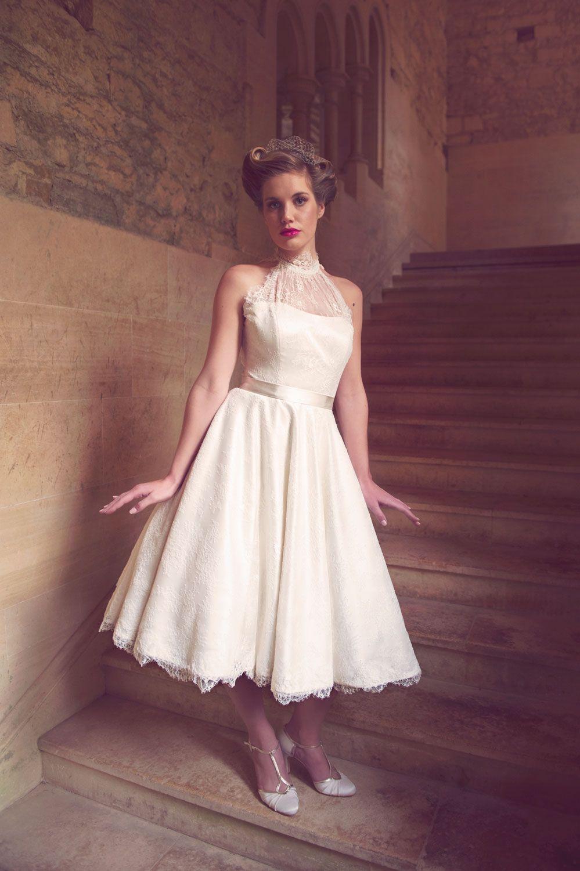 Silvia By Chanticleer Is A Beautiful Halter Neck T Length Dress Short Wedding Dress Wedding Dress Halter Neck Wedding Dresses High Low [ 1501 x 999 Pixel ]