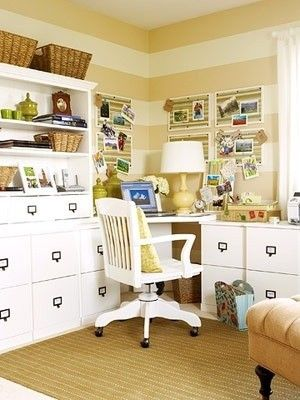 eclectic home office Striped Tan & White Office | Home Office ...
