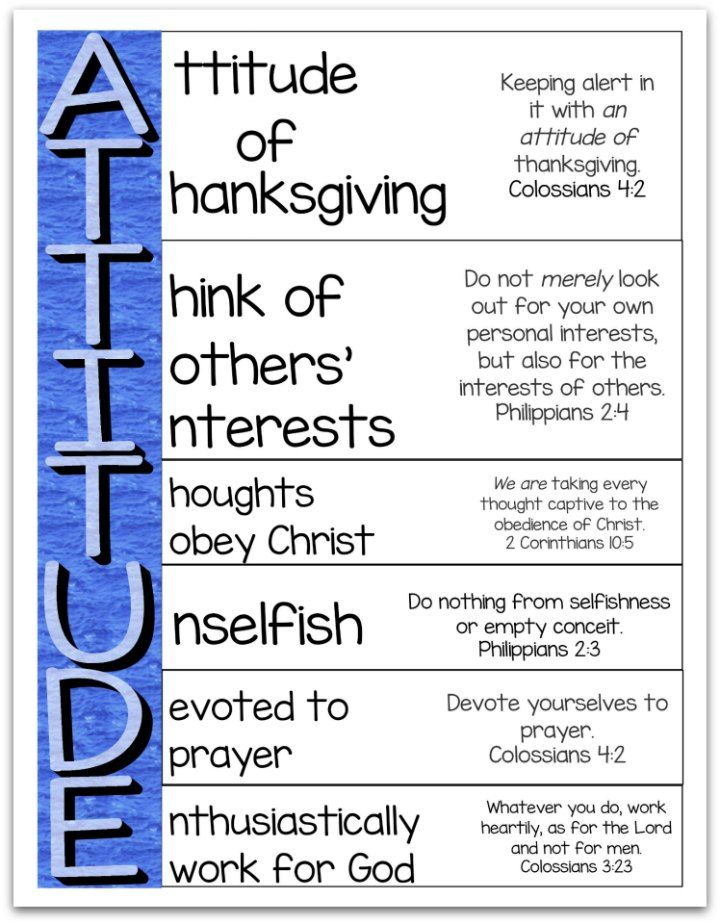 Attitude Is Important - An Acrostic Poem Printable | Bible
