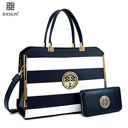 e32bb1da5d2f Dasein Women s Structured Designer Satchel Handbag Work Bag Shoulder Bag  With Shoulder Strap