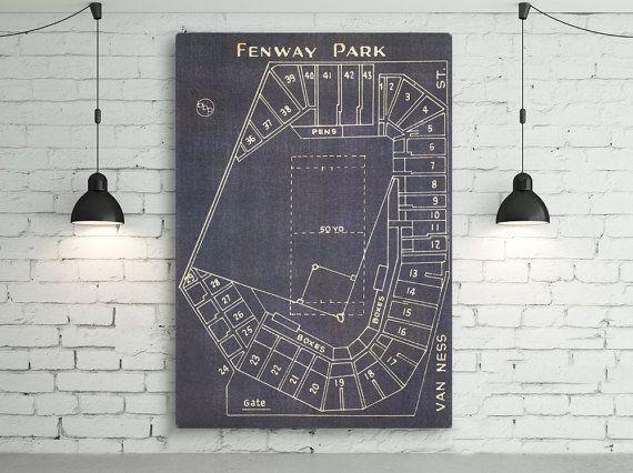 Vintage Boston Red Sox Fenway Park Blueprint on Canvas Sports ...