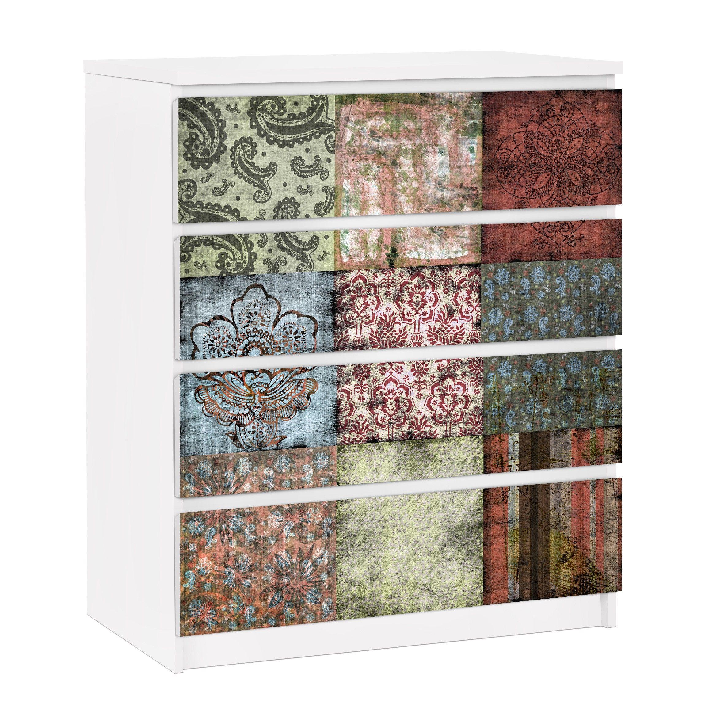 Möbelfolie für IKEA Malm Kommode – selbstklebende Folie Old Patterns, Größe:4 mal 20cm x 80cm