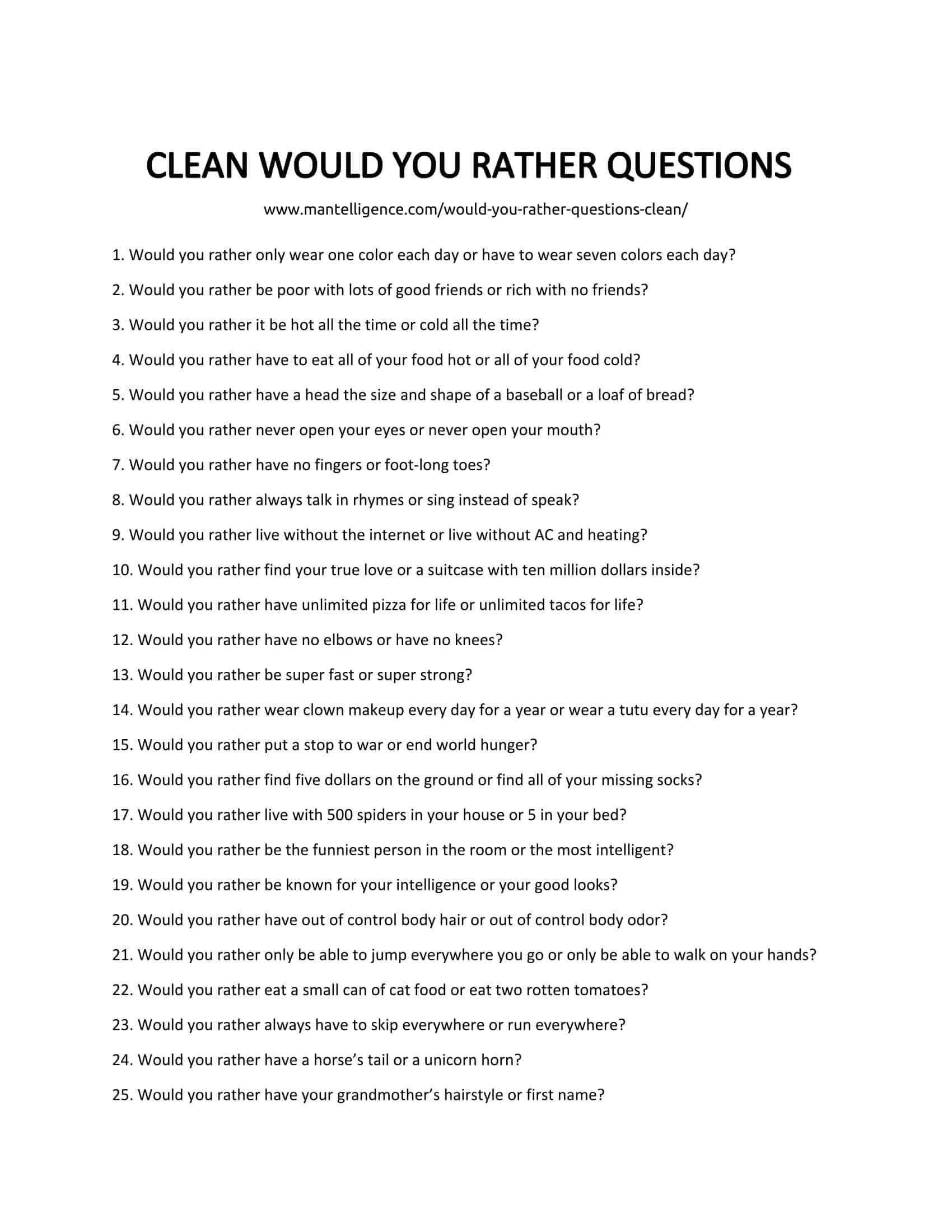 Would You Rather Questions Clean : would, rather, questions, clean, Would, Rather, Questions, Clean, Offensive,, Answer., Questions,