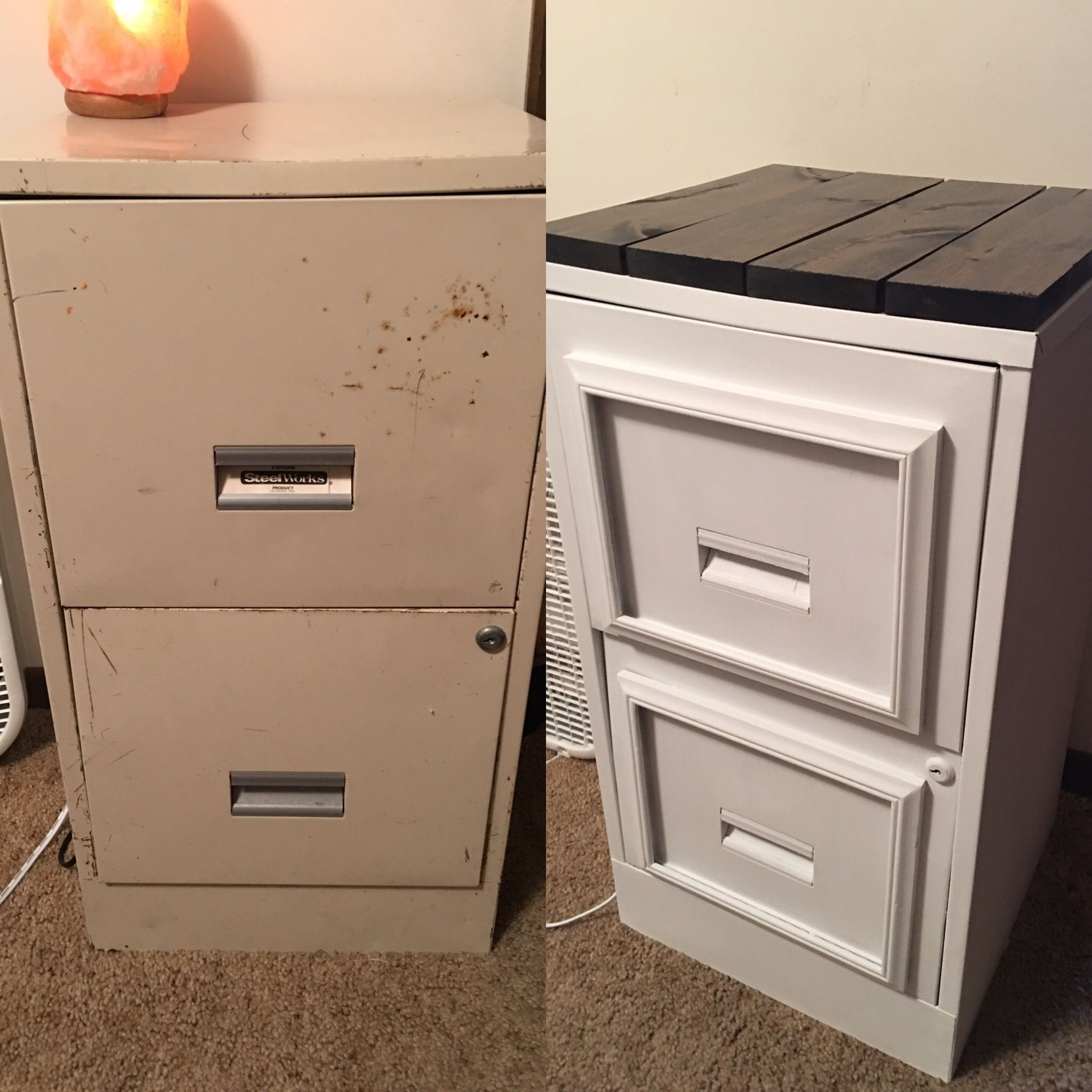Filing Cabinet Makeover Waverly Chalk Paint From Wax Sealer 1x4 Board Hardware Meausured And Cut Into 4 Pieces