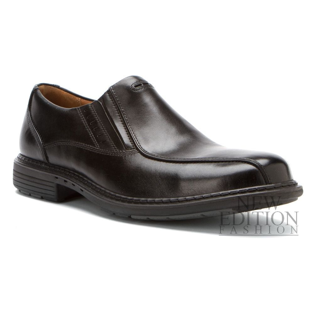 Mens Black Leather Slip on Comfort Shoe