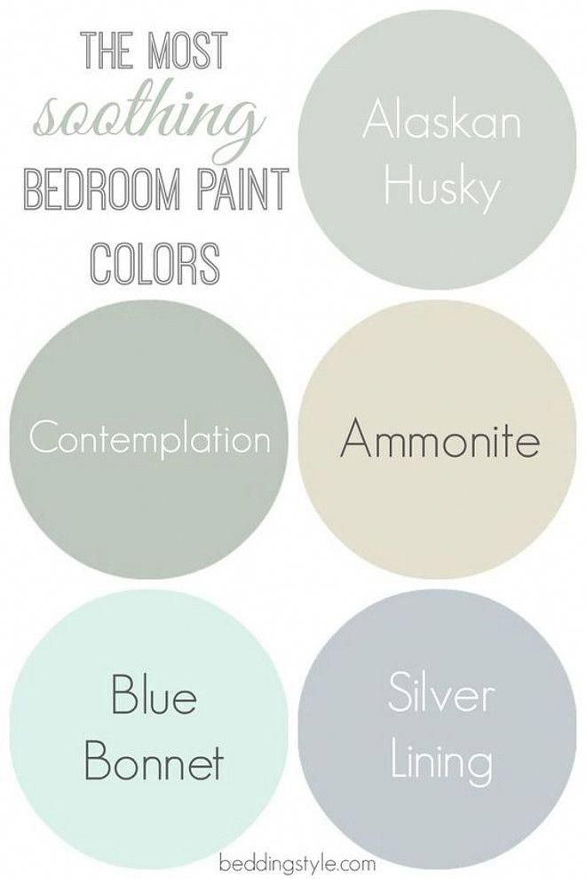 Interior Design Ideas - Soothing Bedroom Paint Colors: Alaskan Husky 1479 Benjamin Moore. Contemplation Behr. Ammonite Farrow and Ball. Blue Bonnet Benjamin Moore. Silver Lining Benjamin Moore.  Via Bedding Style. #bedroompaintcolors #bonnets