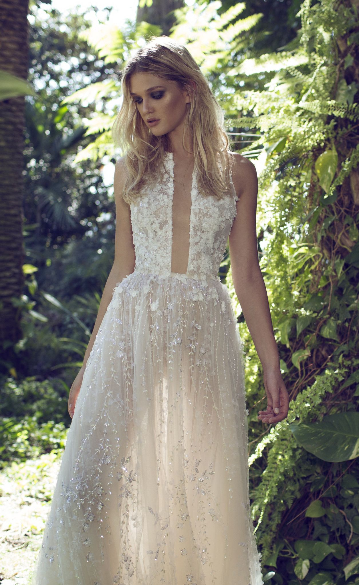 Beautiful Floaty Embellished Lace Wedding Dress With Beaded And Flower Details Skyler By Limor Rosen