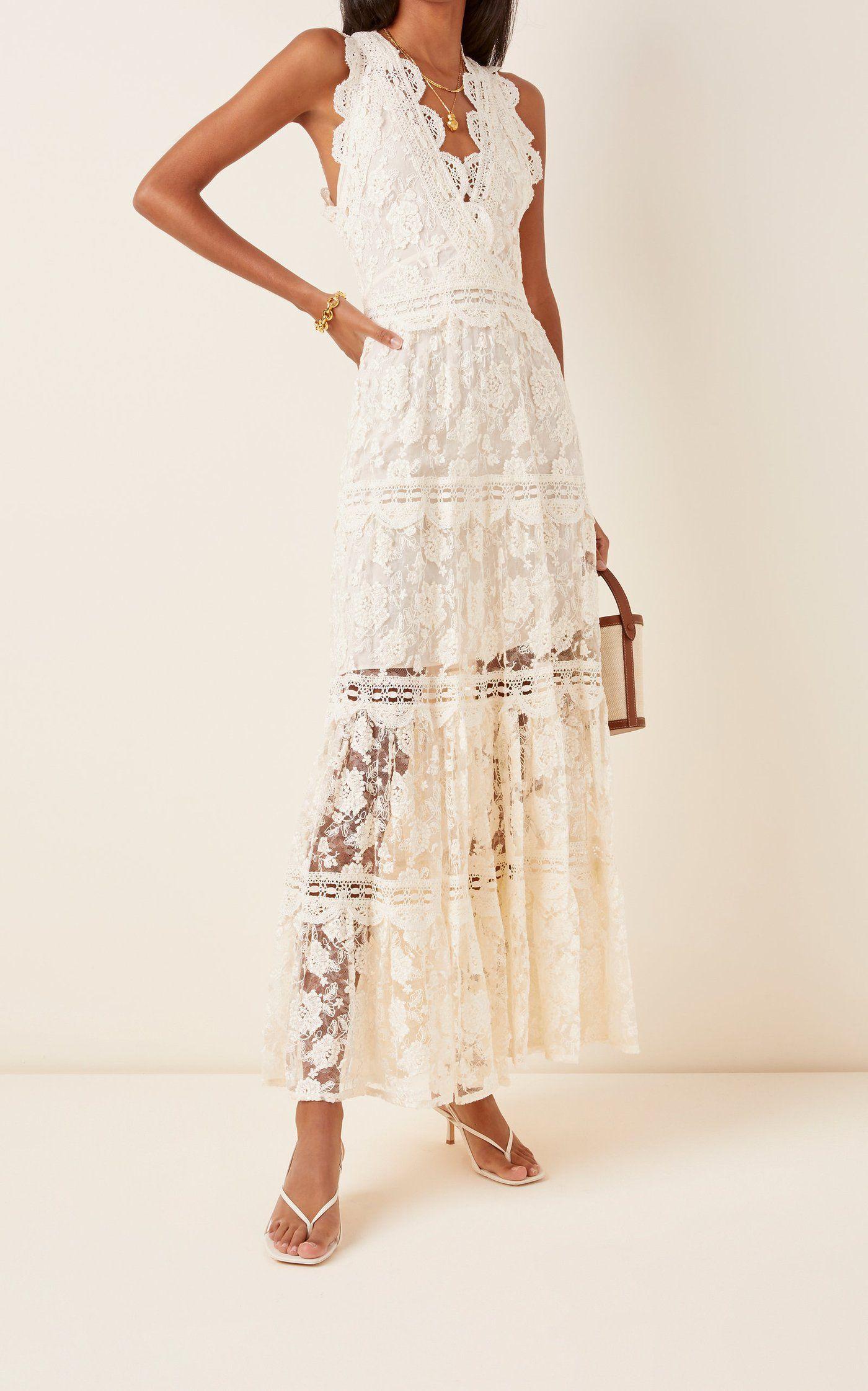 Havana Lace Maxi Dress By Alexis Moda Operandi White Lace Maxi Dress Lace Dress Vintage Lace Maxi Dress [ 2243 x 1400 Pixel ]
