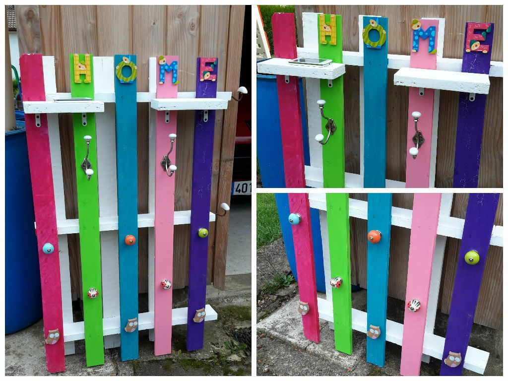 Cute Porte Manteau D'entrée / Pallet Coat Rack  #entrance #lobby #palletcoathanger #palletcoatrack #recyclingwoodpallets May I send you one of my project made with recycled pallets! To give other people come inspiration, it's nice to share hers! This is a coat rack made...