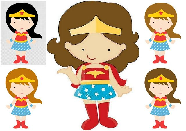 Wonder Woman Baby In Different Styles Clipart Mujer Maravilla