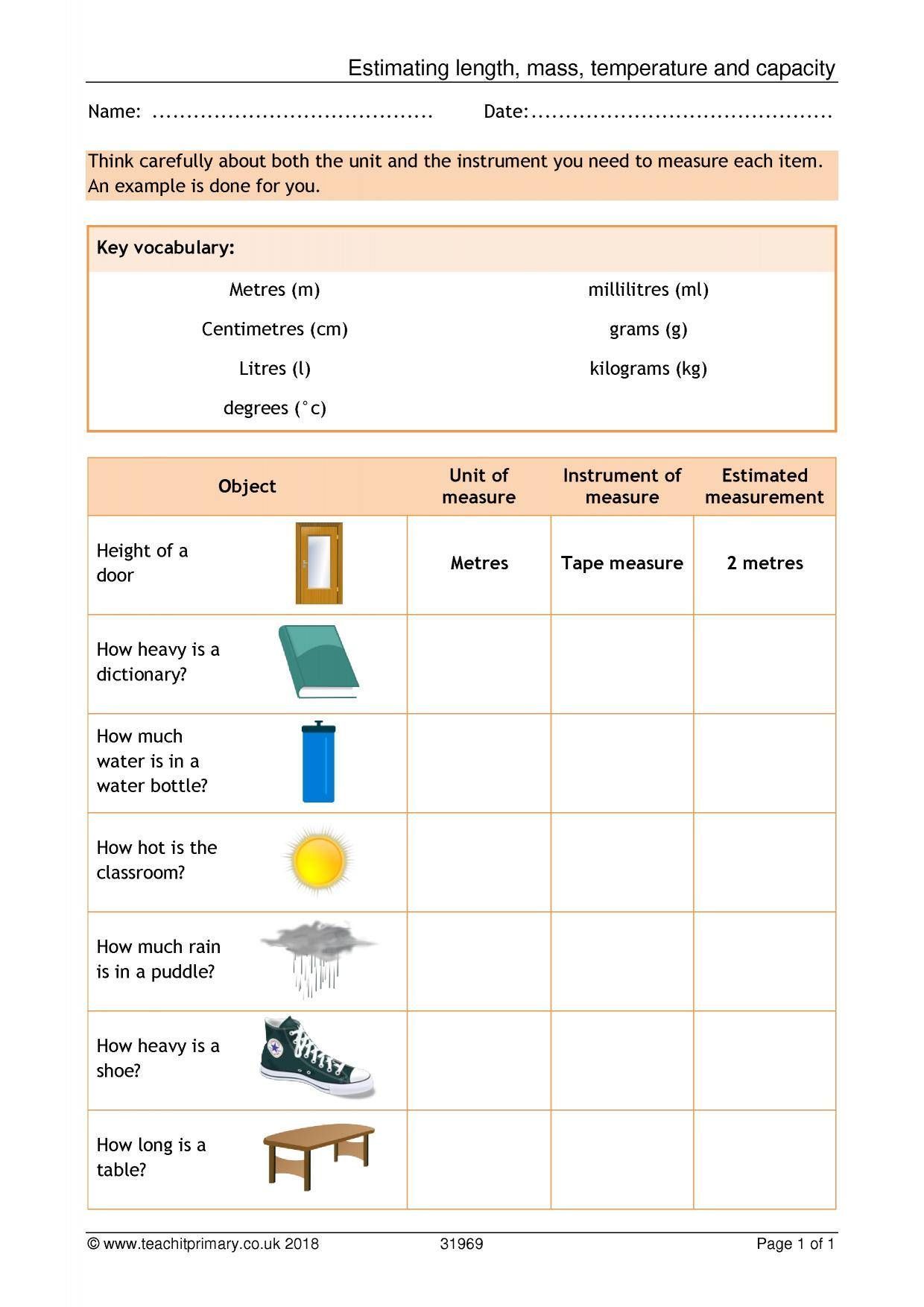 Estimating Length Mass Temperature And Capacity