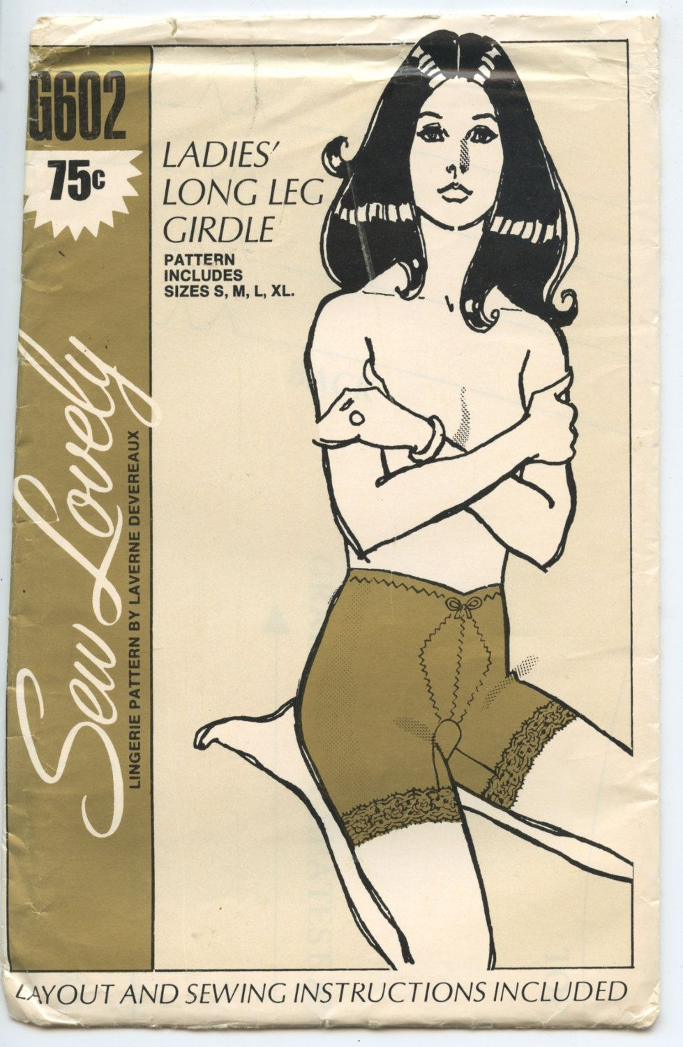 1970's Sew Lovely Lingerie Pattern by Laverne Devereaux G602 Ladies' Long Leg Girdle Vintage Sewing Pattern Sizes S, M, L, XL by GreyDogVintage on Etsy