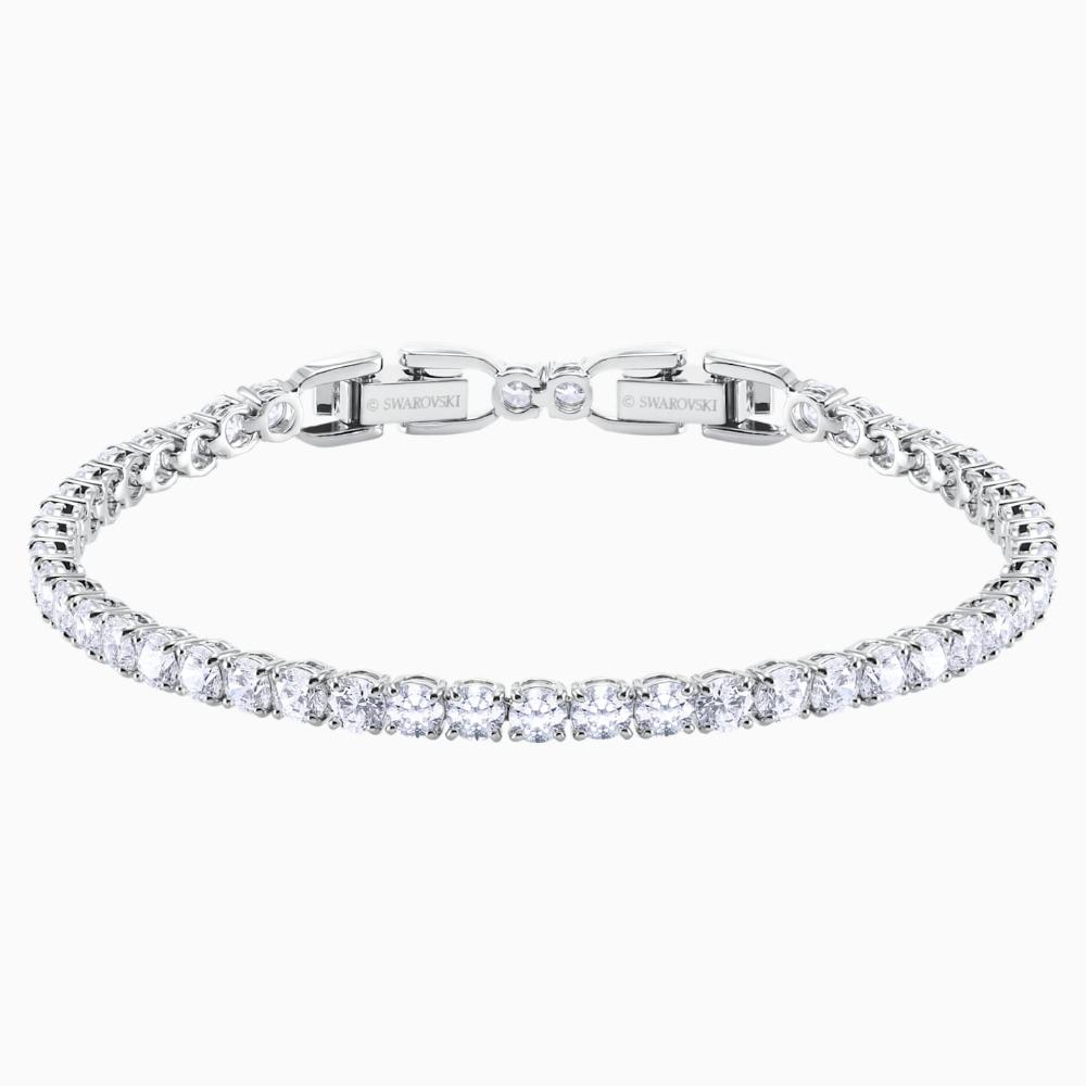 Tennis Deluxe Bracelet White Rhodium Plated In 2020 Swarovski Gifts Bracelets Swarovski Watches