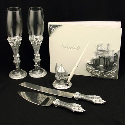 celebrate like royalty on your wedding day with this siver enchated castle design reception set