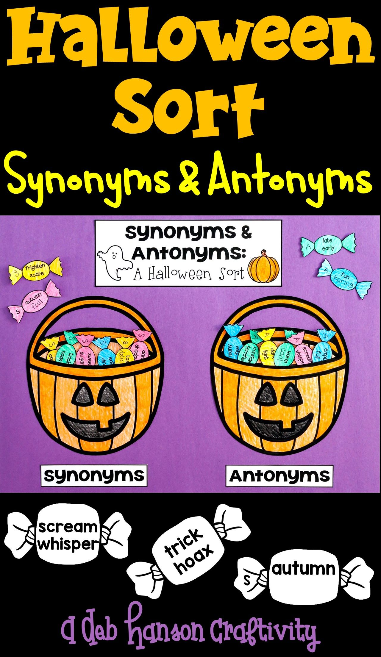 Halloween Craftivity Synonyms And Antonyms