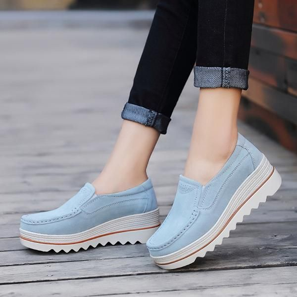 06bc2b69675e Womens Breathable Suede Round Toe Slip On Platform Shoes in 2018 ...
