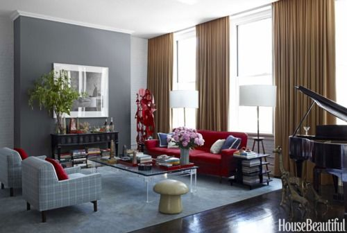 Gray Tan Red Living Room Grey Grey Walls Living Room Living Room Paint