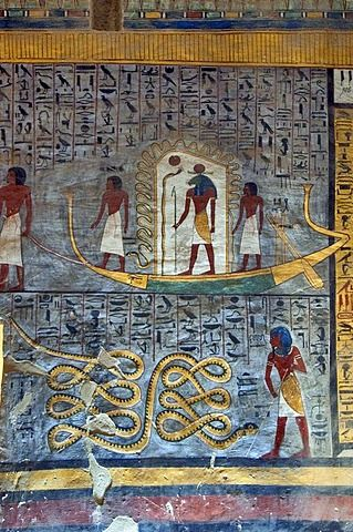 Mural painting solar barge tomb of ramses i tomb number for Egypt mural painting