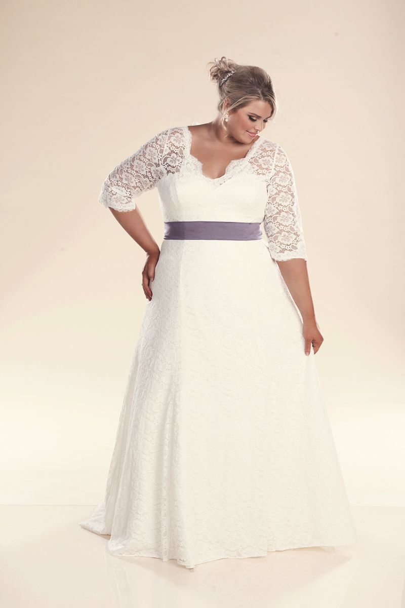 Plus Size Lace Wedding Dress With Sleeves The Rosie Plus Size