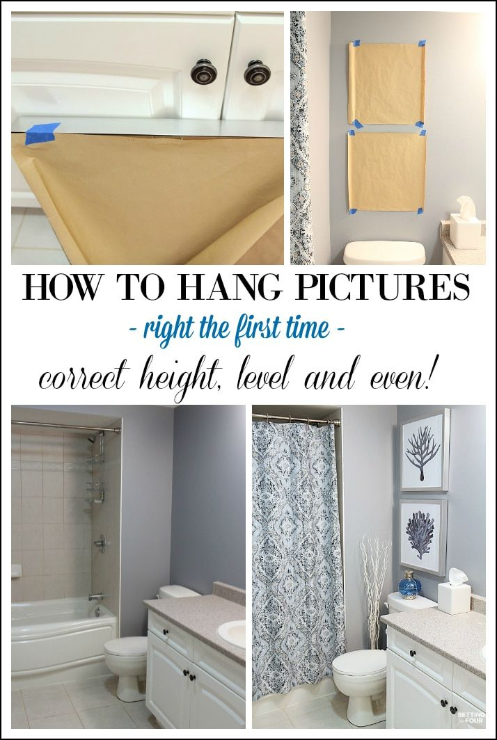 Height Measurements And How To Hang Pictures In A Bathroom Hanging Pictures Bathroom Sets Home Decor Tips