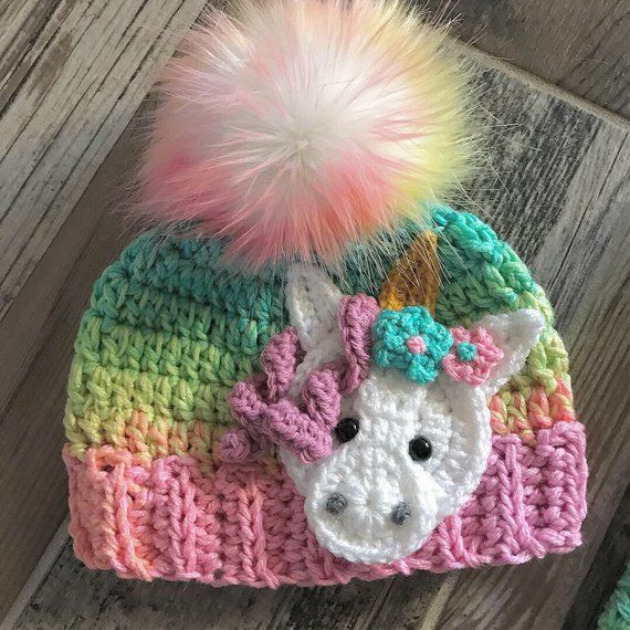 Crochet Trio of Baby Hat Patterns Featuring Animal Appliques! Pattern Set Includes Moose, Bear & Unicorn! #crochethatpatterns