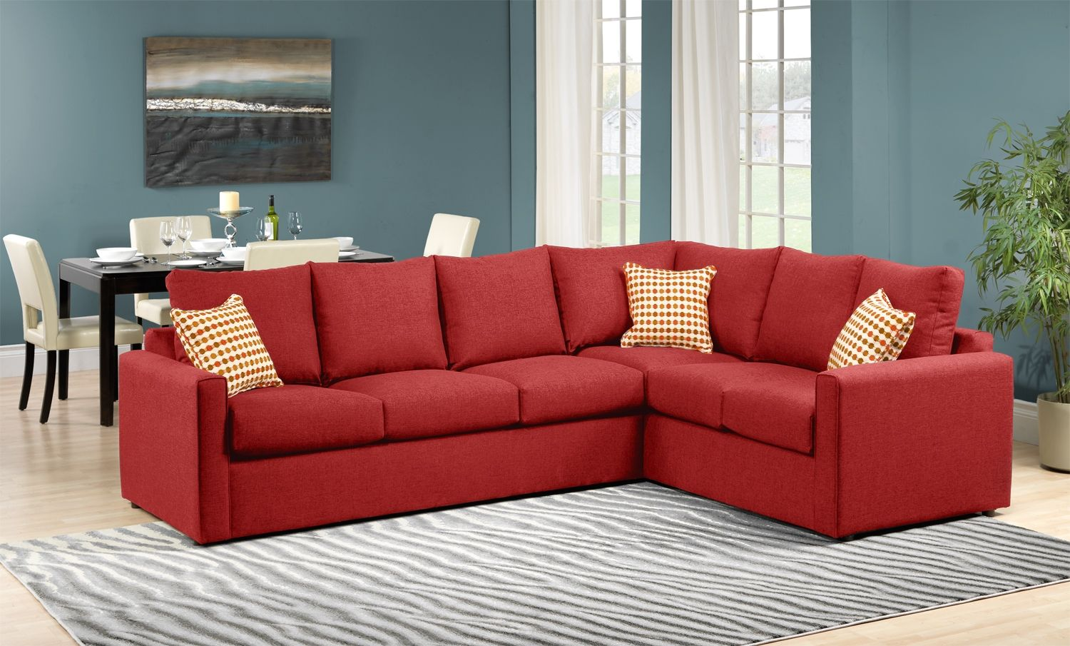 Delicieux Athina 2 Piece Left Facing Queen Sofa Bed Sectional   Cherry