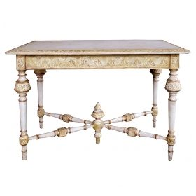 a danish neoclassical style ivory painted rectangular console/center Tables with ochre and gilt highlights