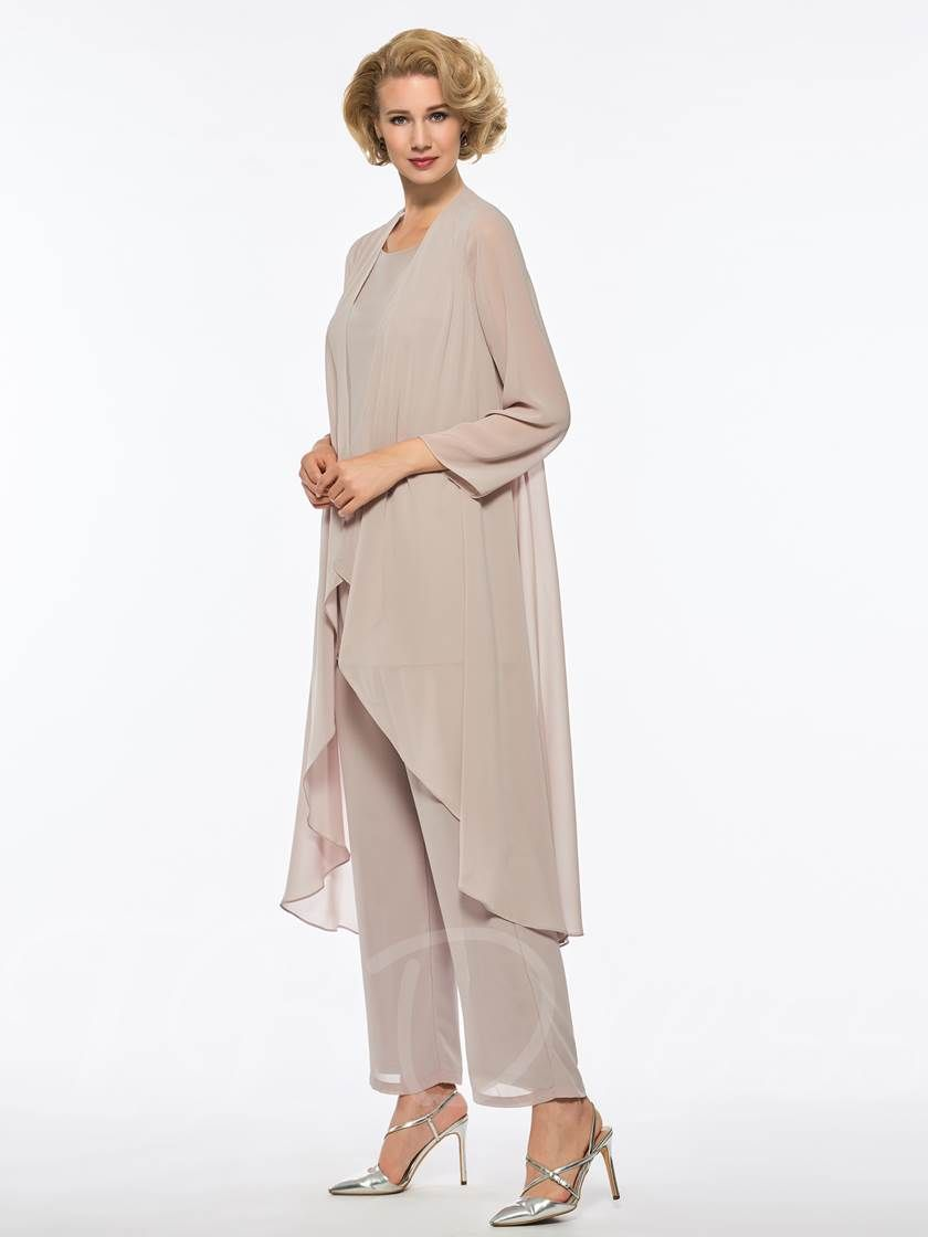 Loose mother of the bride jumpsuit with long sleeve jacket wedding