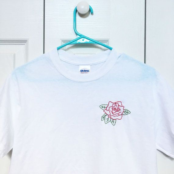 c80ea71b74f86 Red Rose Embroidered T-shirt by urbanstitchings on Etsy | Clothes ...