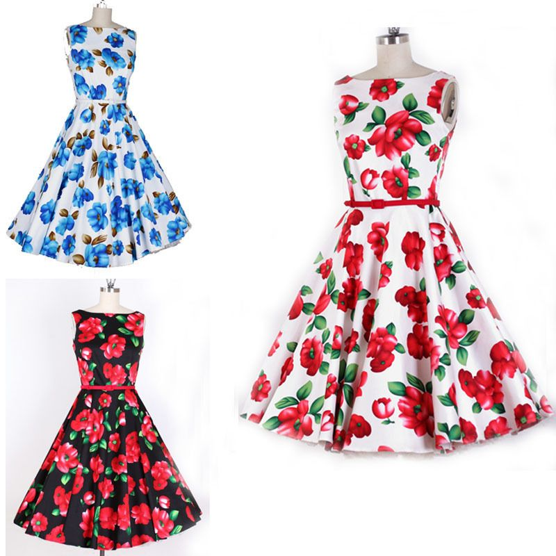 Europe Women 50s Retro Flowers Print Pattern Word Collar Pinup ...