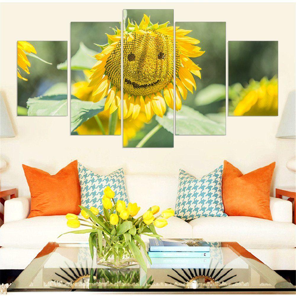 5 Pieces Frameless Canvas Art Sunflower Wall Art Creative Gift Wall ...