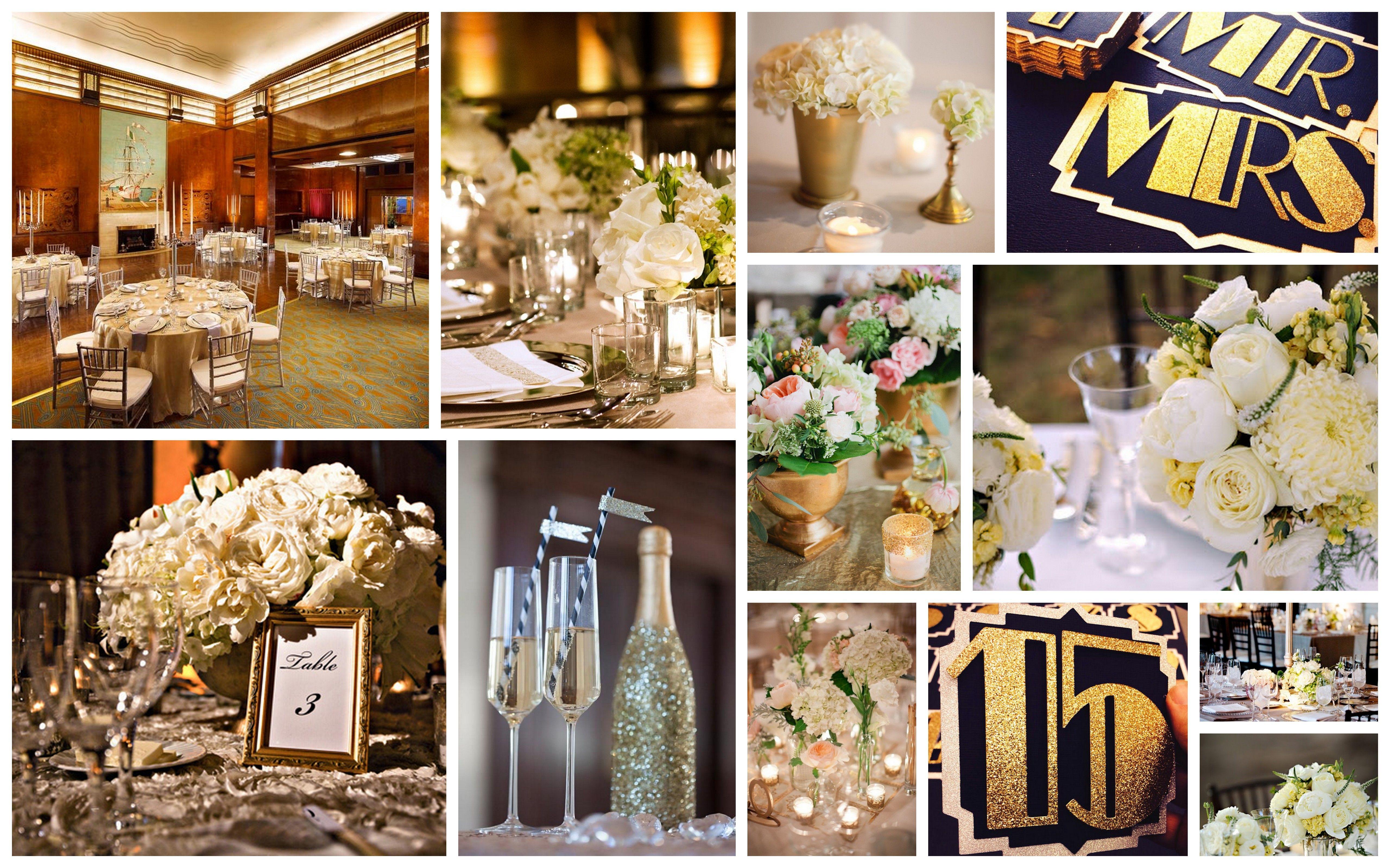 wedding decor, gatsby, gold, white, silver, glitter