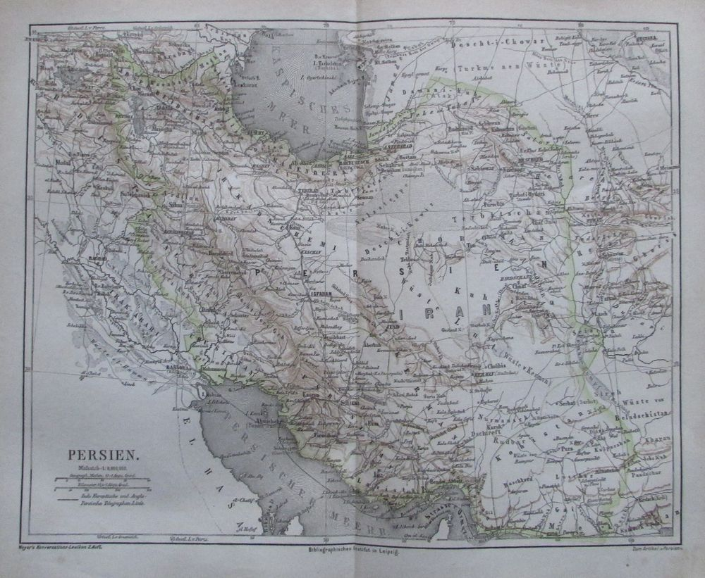 Asien physikalische Karte Lithographie 1892 alte historische Landkarte Karte